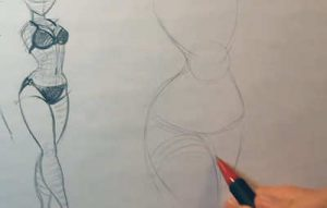 how to draw tight clothing bikini sketch