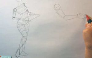 drawing a pin up girl surface direction body