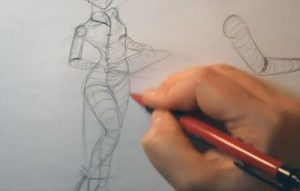 how to draw a geisha body pose