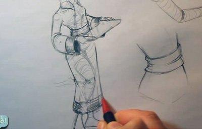 Drawing Hair and Clothing | 08 |Loose Clothing 2 - Drawing a Geisha's Long Robe 2 HAIR 07 08