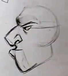 cartoon face side view nose and chin