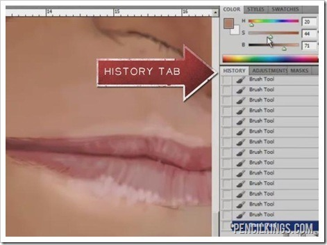 draw caricature lips history tab