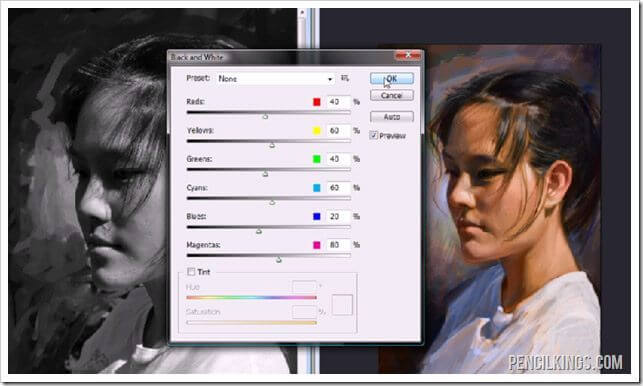 how to paint portraits black and white layer