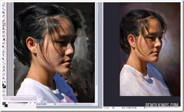 how to paint portraits photoshop background