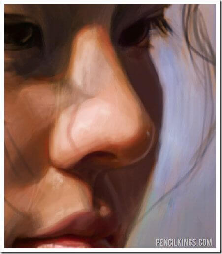 realistic portrait painting shadows on lips
