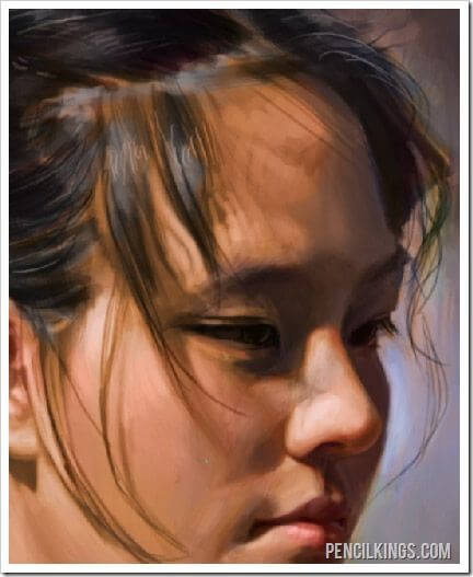 realistic portrait painting hairline