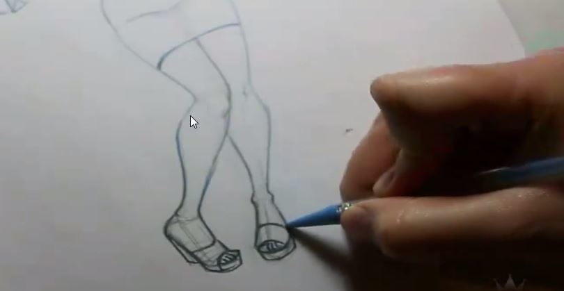 how to draw a pinup girl sketching the feet