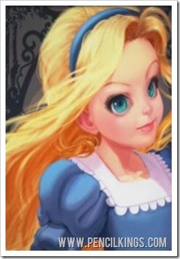 how to draw Alice in Wonderland finished painting