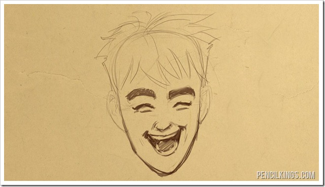 how to draw a laughing face finished drawing