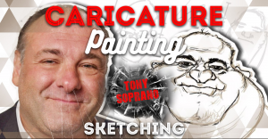 caricature-painting-tony-soprano-sketching