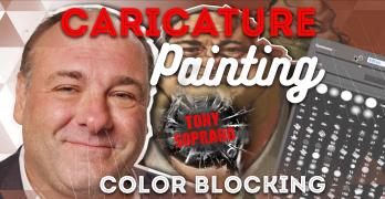 Caricature Painting of Tony Soprano Pt 2: Color Blocking