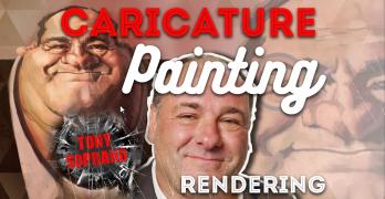 Caricature Painting of Tony Soprano Pt 3: Rendering