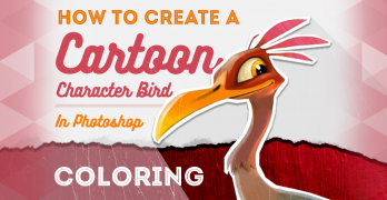 How to Create a Cartoon Character Bird Pt 2: Coloring