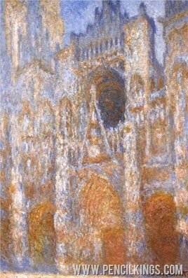 paintings-with-life-rouen-cathedral-the-portal-at-midday-by-monet